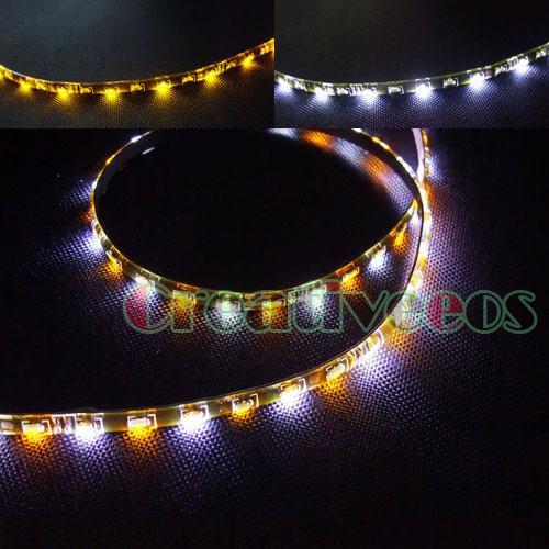 """2x 60CM 24"""" Car 60LED SMD 335 Side-emitting Eyebrow LED Strip Light /Turn Signal Light White/Yellow(China (Mainland))"""