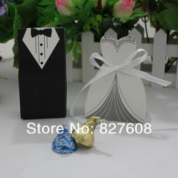 hot sale 100pcs Bride and Groom candy box for wedding decoration/ wedding favor/wedding invitations