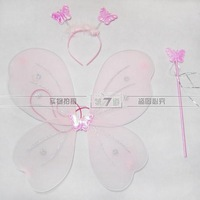 Free Shipping New butterfly wings set(wing,headband,fairy wand)/Angel wing/Party accessories,wholesale PW0025