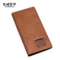 Hot Sale!! New Fashion LENWE BOLO Genuine Leather Men Long Wallet Card Bag Holder Handbag Free Shipping