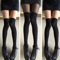 Free shipping Perfect patchwork knee-high pantyhose stockings over-the-kneesocks silk stockings