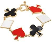 New Charming Korean Style Gold Plated Enamel Flower Heart Poker Bracelets Wholesale 5Pcs/lot