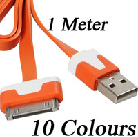 Hot Sell 1m Flat Charging Cord USB Data Sync Cable For Apple iPhone 4 4S 3GS 3G iPod Nano 10colors 100pcs