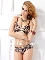 Zebra-stripe Sexy Seamless Women Push Up Bra Deep V Neck Design Female Bra 3/4 Cup Four Hook-and-eye Sex Underwear Free Shipping