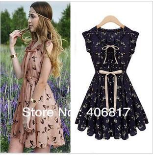 2014 New European Design Slim Fashion Women Summer Dress Animal Printed Vintage color Chiffon Casual Novelty Dress S-XXL(China (Mainland))