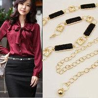 Promotion! 2014 Fashion Exquisite Luxury Gold Silver Metal Rhinestone Designer Female Chain Belt Straps Cummerbund for Women