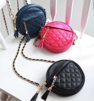 2013 candy color sacculus chain bag tassel plaid fashion shoulder cross-body women's handbag bag