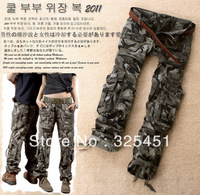 free shipping 2013 women's cargo pants cool drawstring low-waist lovers Camouflage pants casual trousers S M L XL XXL  3XL XXXL