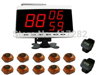 singcall.wireless Table Waiter Service Calling Paging System.restaurant calling system,10 bells and 2 watch receivers,1 Display.