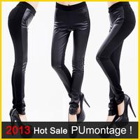 2014 Fashion PU Leather Pants Women High Waist Black Stretchy Leggings Stitching Pencil Trousers M/L/XL/XXL Size Patchwork PT001