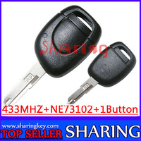 (5PCS/lOT  1 button Remote Key with PC7946 Chip With NE73 Blade For Reanult Clio Kangoo Master