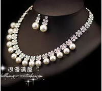 Christmas promotion pearl jewelry set necklace earrings crystal bridal jewelry sets wedding jewelry bijuterias