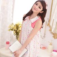 2014 female summer sleepwear brand sweet Pink Garden Floral Style sexy sleeveless dress pyjamas for women home wear