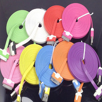 1000pcs/lot 3M 10FT Flat Noodle USB Data cable Colorful for iphone 4 4S