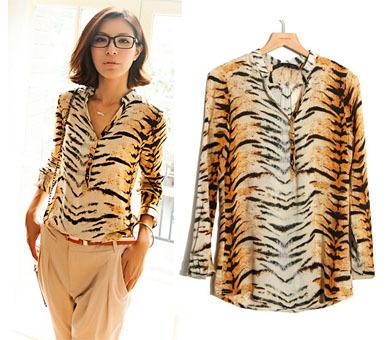 Temperament Casual Shirt Women Spring Summer 2014 Long Sleeve Chiffon V-neck Blouse 8.19 on sale(China (Mainland))