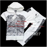 Free shipping - 2013 Brand Fashion Casual Women`s New Gauze Lace Shut Pants Cotton Short-Sleeved Summer Pant Suit