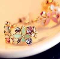Exquisite love good quality butterfly flower ShanZuan aesthetic temperament wreath earring stud earrings   free shipping