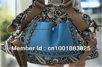 Hot Sale Europe and America national trend  Popular printed rivet  big  package messenger bag handbag vintage women's handbag