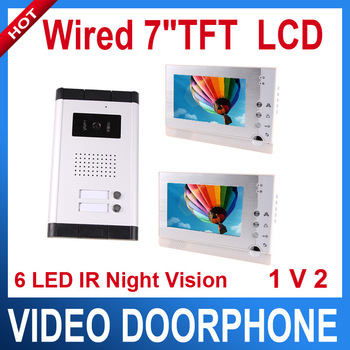 "Light video 7"" LCD Video Doorphone 1 IR camera security kit 2 monitor 2 Apartments color video door phone intercom system"