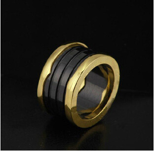 316 Titanium Steel Brand bijoux jewelry womens ceramic engagement wedding Letter ring couple gold plated