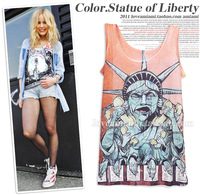 2014 New Arrival Mix Match Hand Drawing Doodle 3D Printing Sleeveless Punk Tees For Women,New Summer Street Punk Vest For Girl