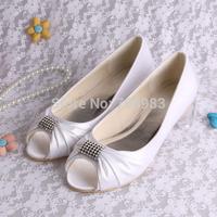(13 Colors)Free/Drop Shipping Womens Rhinestone White Satin Bridal Shoes Flats Open Toe Size 34~42#