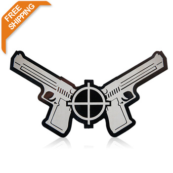 $7.99 Free Shipping  stainless steel dual pistol emblems car sticker  easy peel&stick installation T20454