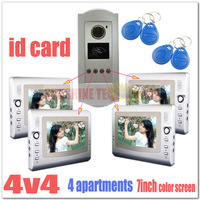 ID CARD Multi-unit Video door phone intercom system ( 4 buttons outdoor camera +4pcs 7-inch TFT LCD )dropshipping