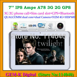 Ampe A78 3G Qualcomm Dual-core+GPS+Bluetooth+built-in 3G phone Call tablet pc with 3g sim card slot(China (Mainland))