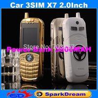 Mini Car X7 3SIM Phone With Power Bank Three SIM Card MP3 Camera Bluetooth 2.0Inch Metal Body Phone(Can Add Russian Keyboard)