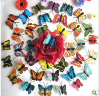 Hot& wholesale  200pcs 3D Mini  Artificial Butterfly for Wedding Wedding Decorations Favor Home Decoration 4 cm mix colors NEW!