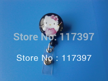 Hello kitty Clear Glass Retractable Cute Lovely Fashionable of ID/IC Card Badge Reel Holder  Swivel design