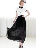 New Arrival High Waist Chiffon Skirt Black White/ Ladies Transparent Bust Skirt/ Elegant Women Spring Summer Skirt