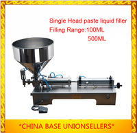 Free Shipping  piston paste filling machine, semi filler, pneumatic, single head with Cylinder,hopper