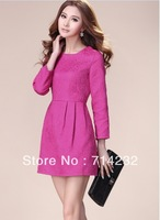 Free shipping 1pc sale Spring Autumn novelty women dress ball gown plus size cotton dresses new fashion 2013 long sleeve dress