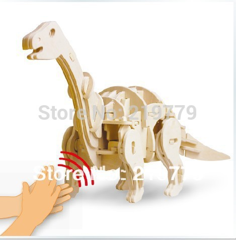 6 Designs Option DIY Sound control 3D Wooden Puzzle Dianosaur Model Building Kits Kids Christmas Toys Educational Toys(China (Mainland))