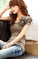 2013 New flower pearl ornaments wrinkles sleeves Stylish short-sleeved T-shirt cotton Blouse Top T-shirt