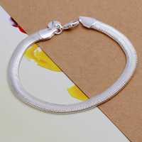 Wholesale 925 Silver Bracelets & Bangles,925 Silver Fashion Jewelry Flat Soft Snake Chain Bracelet Free Shipping SMTH164