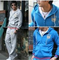 Free Shipping fashion sports wear for men gym suits cotton leisure tracksuit / sweatsuit hoodied sport suits 4 color M-XXXL