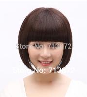 Fringe Bobo Women's quinquagenarian real 100% remy human hair wig mushroom head