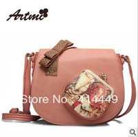 Handbags 2013 new Bag with flowers Messenger bags Artmi 2013 spring fashion handbag Preppy vintage handbag Single-shoulder bag