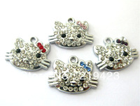 wholesale 100pcs/lot  21*17mm Hello Kitty Hang Pendant Charm stuff: Zinc alloy fit necklace cell phone charms