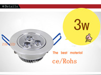 3w led downlights ceiling  lamp ,super bright 10pcs/lot, NOT dimmable white colour shell,30 degree angle, 2yrs warranty,