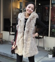 FREE SHIPPING 2013 autumn winter women fashion imitation rabbit fur with a hooded fur vest coat