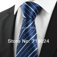 2014 New Arrival  Designer Tie! Silk Striped Black Blue Jacquard Woven Silk Men's Ties Necktie