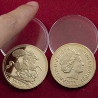 UK British Sovereign Gold coin,St George slaying Dragon Reverse GOLD CLAD COIN 5pcs/lot free shipping metal coins