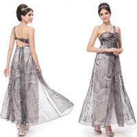 HE09576BK Free Shipping One Shoulder Rhinestones Sequins Print Ruffles Evening Dress