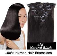 """16"""" 18"""" 20"""" 22"""" 24"""" 26"""" 28"""" Remy Clip 7pcs Human Clip-on Hair Extension #1B Natural Black 70g 80g 100g 120g"""