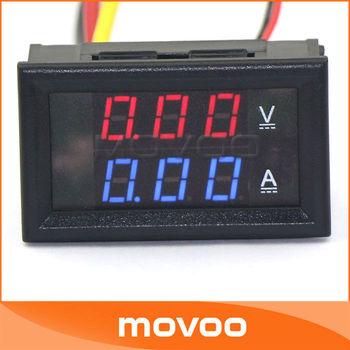 100 unidades B27-VA Volt Amp Voltímetro Amperímetro Digital LED Tensão Corrente Medida Medidor de painel DC 0-100V/10A Azul # 100014