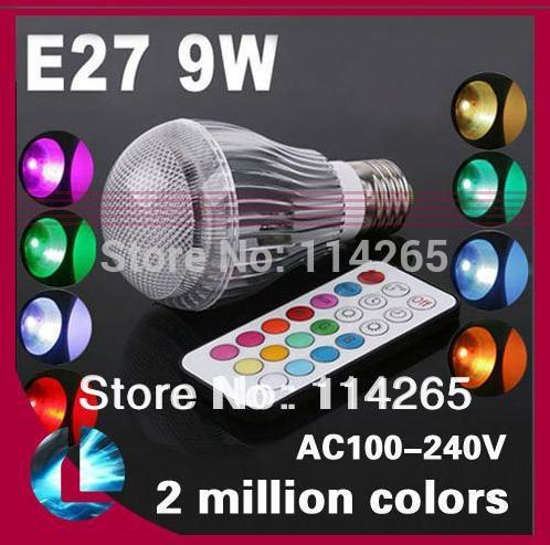 (4x3w)12W 9w 5w  Ra>80 AC85V~245V  GU10 E27 GU5.3 B22 base RGB Remote Control 16 Color Change led light lamp fee shiping